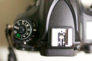 Aモードに設定したカメラ